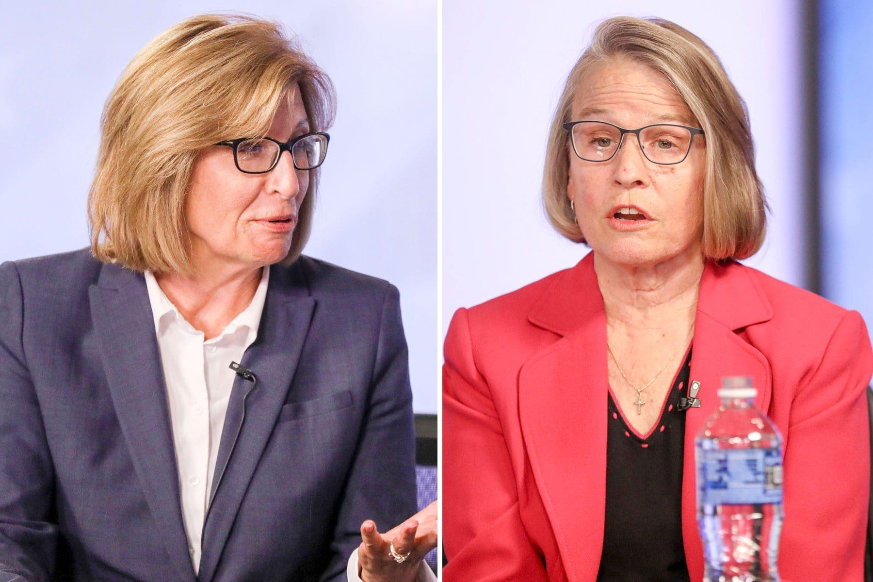 Democrat Rita Hart, left, disputing her election loss to Rep. Mariannette Miller-Meeks.
