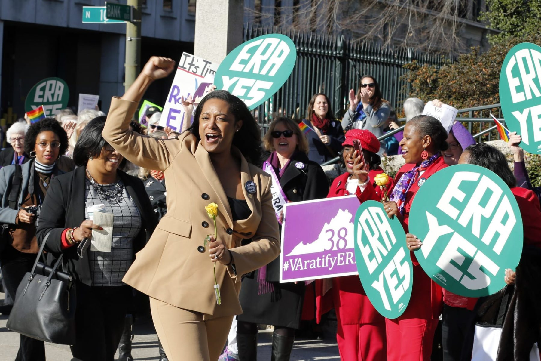 Delegate Jennifer Carroll Foy, D-Price William, cheers on Equal Rights Amendment demonstrators outside the Capitol in Richmond, VA.