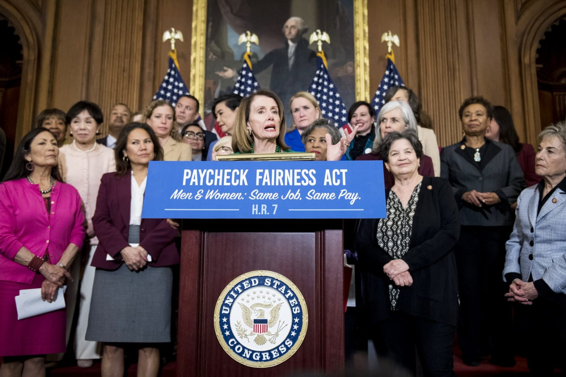 Speaker of the House Nancy Pelosi, D-Calif., speaks during the Democratic Womens Caucus press conference.