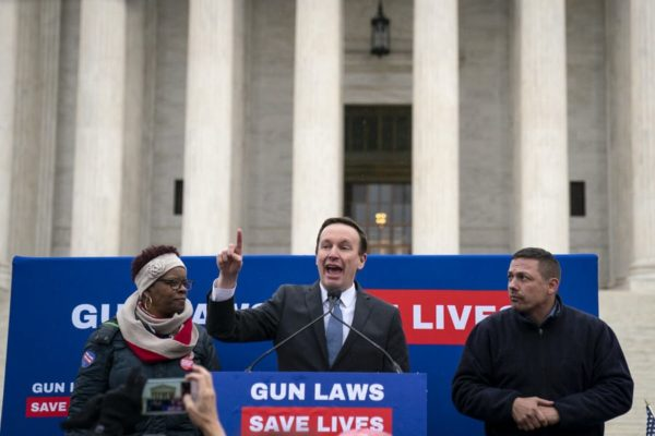 U.S. Sen. Chris Murphy (D-CT) speaks to gun safety advocates as they rally in front of the U.S. Supreme Court.