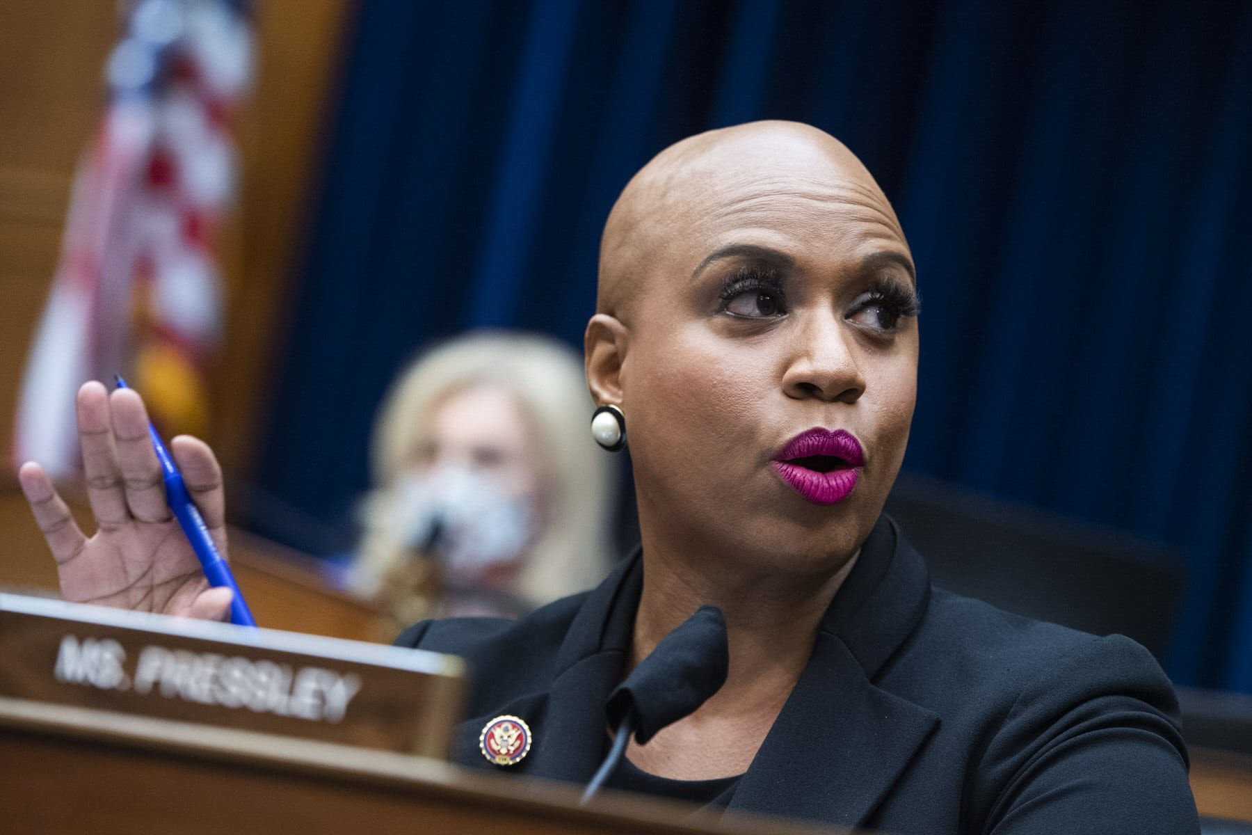 Representative Ayanna Pressley (D-MA) asking questions at a House Oversight and Reform Committee hearing.