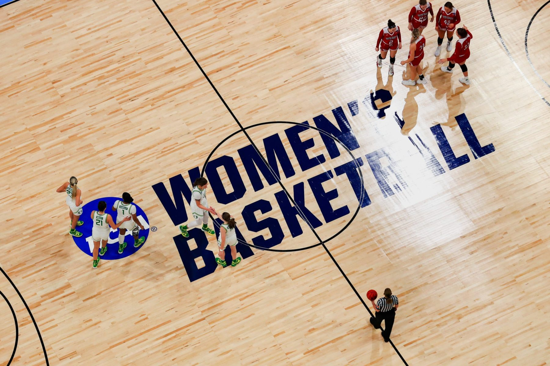 The South Dakota Coyotes and the Oregon Ducks in the first round game of the 2021 NCAA Women's Basketball Tournament at the Alamodome on March 22, 2021 in San Antonio, Texas.