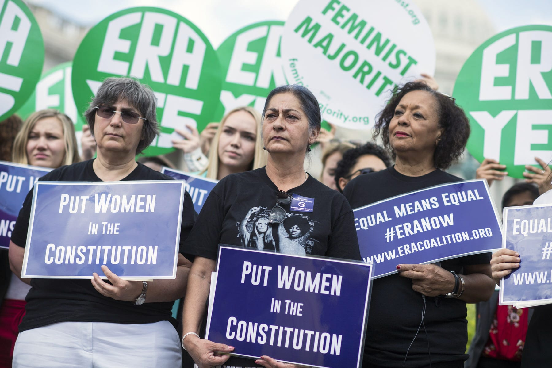 An image of members of the Equal Rights Amendment Task Force, attend a news conference at the House Triangle.
