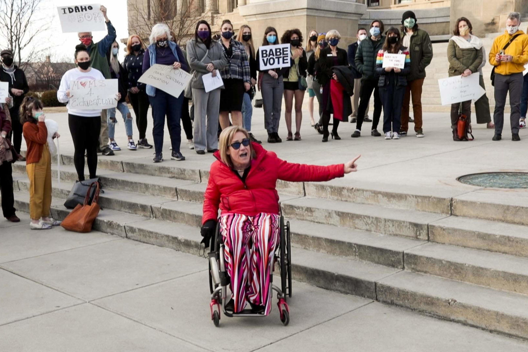 Protest over child care funding in Idaho
