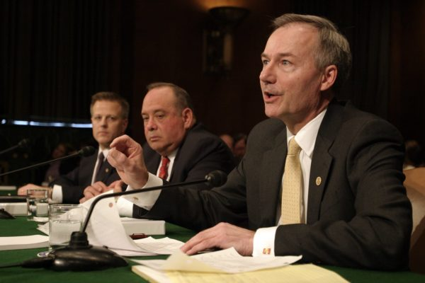 Asa Hutchinson, Undersecretary of Homeland Security for Border and Transportation Security Directorate; Eduardo Aguirre, director of the U.S. Citizenship and Immigration Services at the Homeland Security Department; Steven Law, deputy secretary of Labor; appear before a Senate Judiciary hearing.