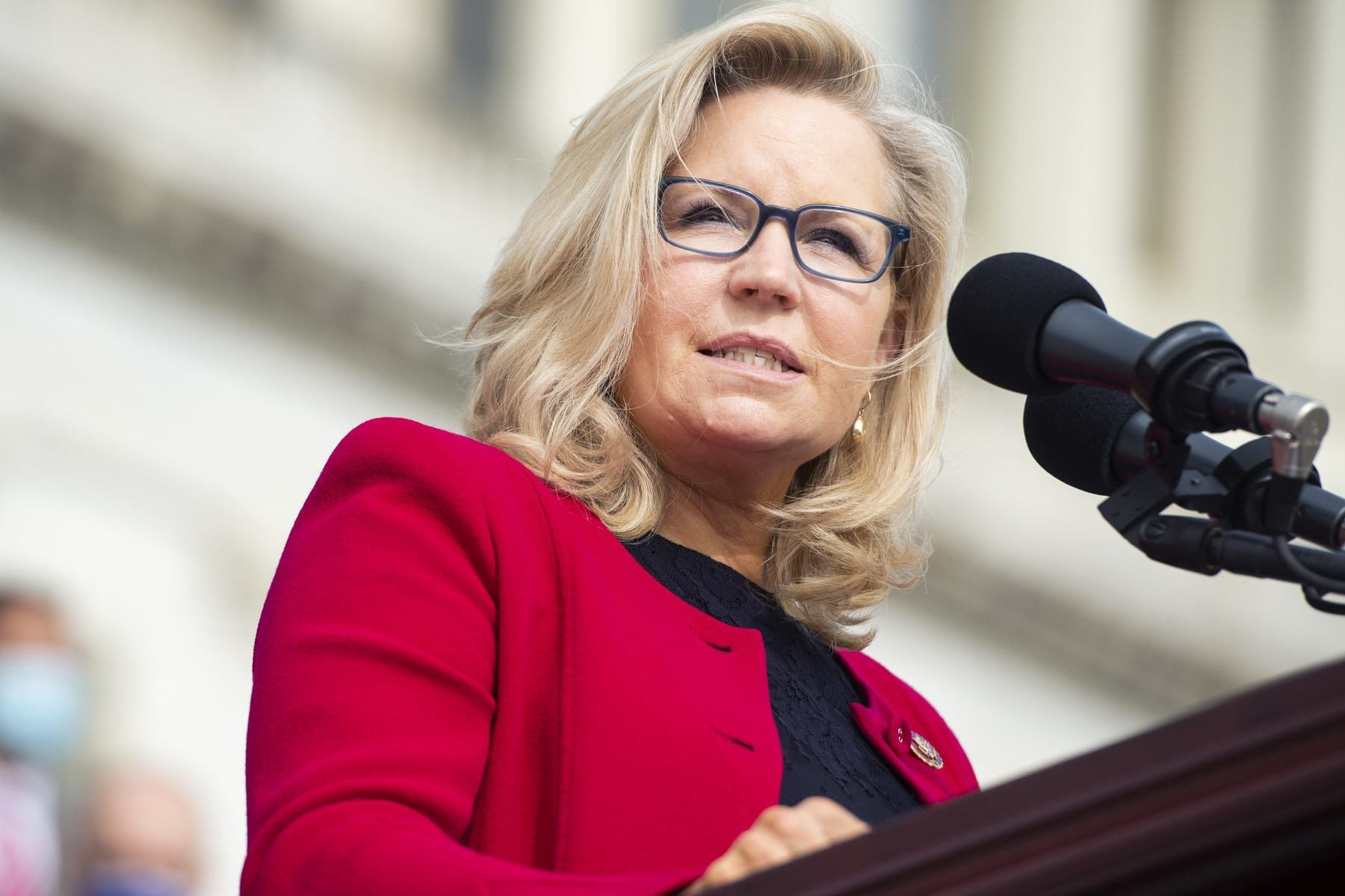 Republican Conference Chair Liz Cheney, R-Wyo., speaks during an event at the Capitol.