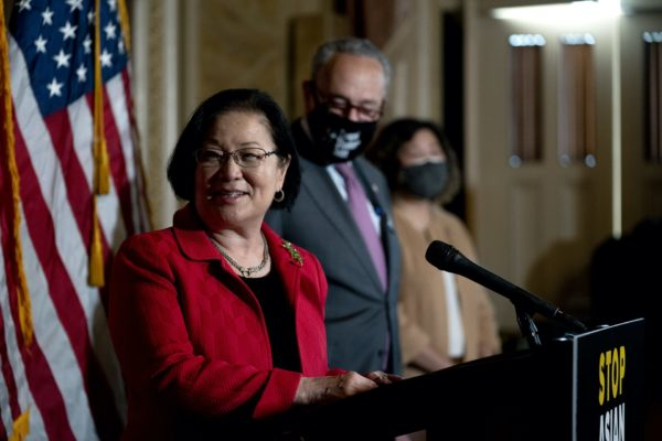 U.S. Sen. Mazie Hirono (D-HI) speaks during a press conference on the COVID-19 Hate Crimes Act at the U.S. Capitol on April 13, 2021 in Washington, DC. The legislation aims to address the rise of hate crimes and violence targeted at the Asian American and Pacific Islander community related to the COVID-19 pandemic.