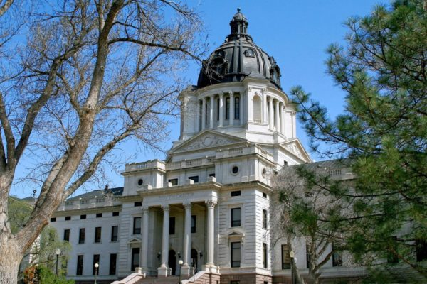 State capitol building in downtown Pierre in central South Dakota.