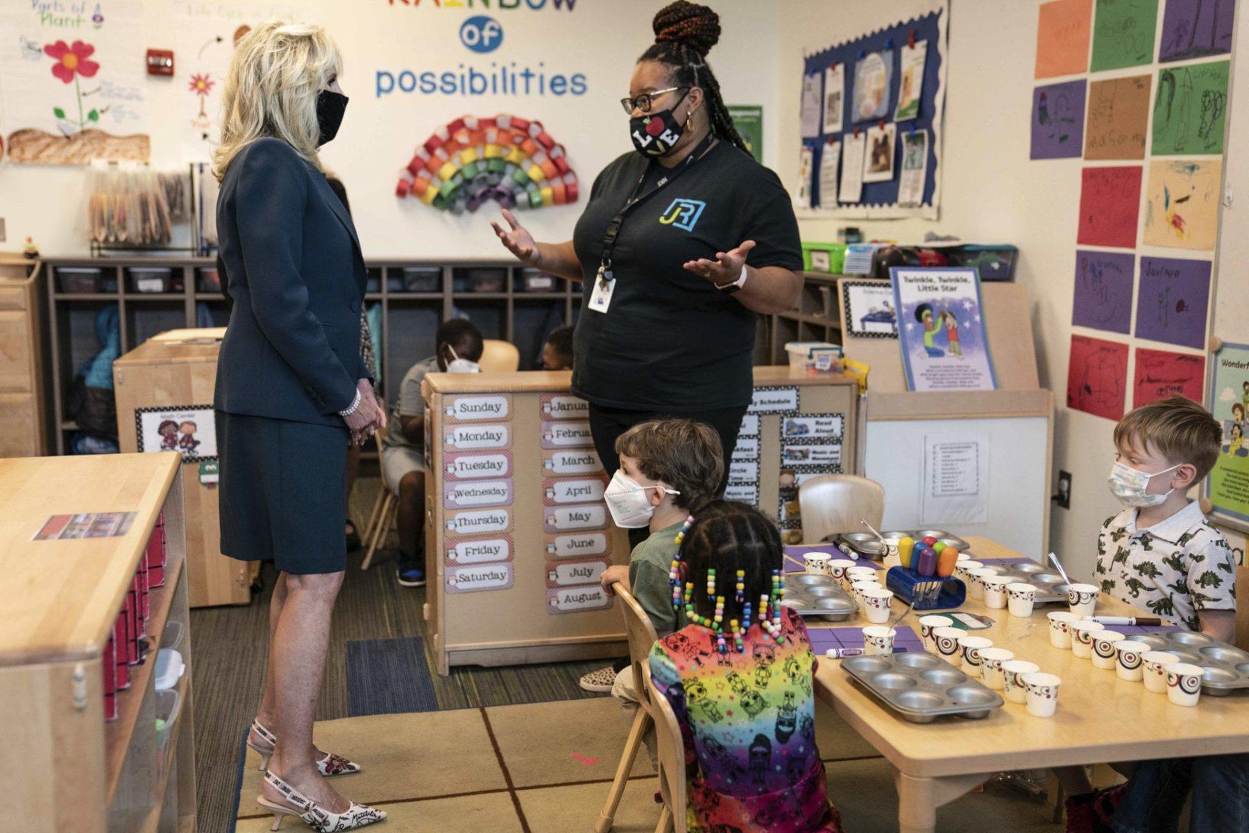 Jill Biden takes a classroom tour
