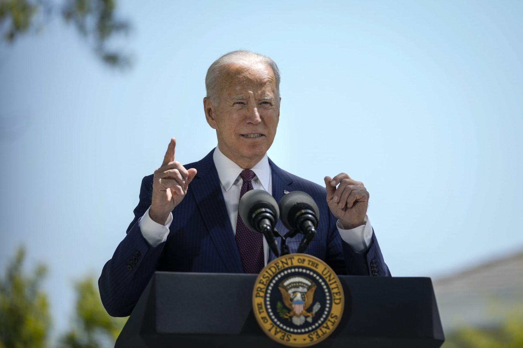 Joe Biden speaks outside the White House