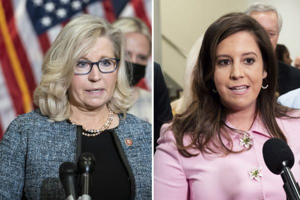 A composite image of U.S. Rep. Liz Cheney (R-WY) and
