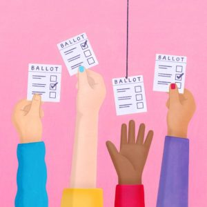 A series of hands reaching for ballots.