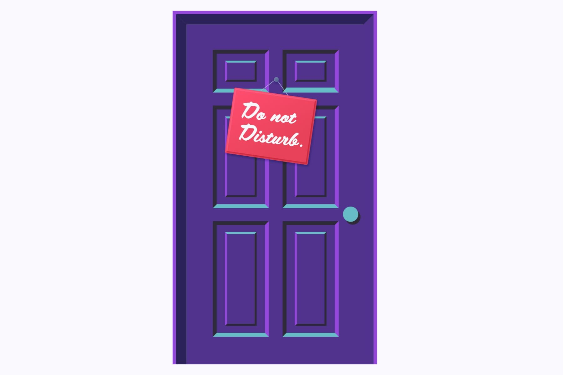 Illustration of a door with a do not disturb sign.
