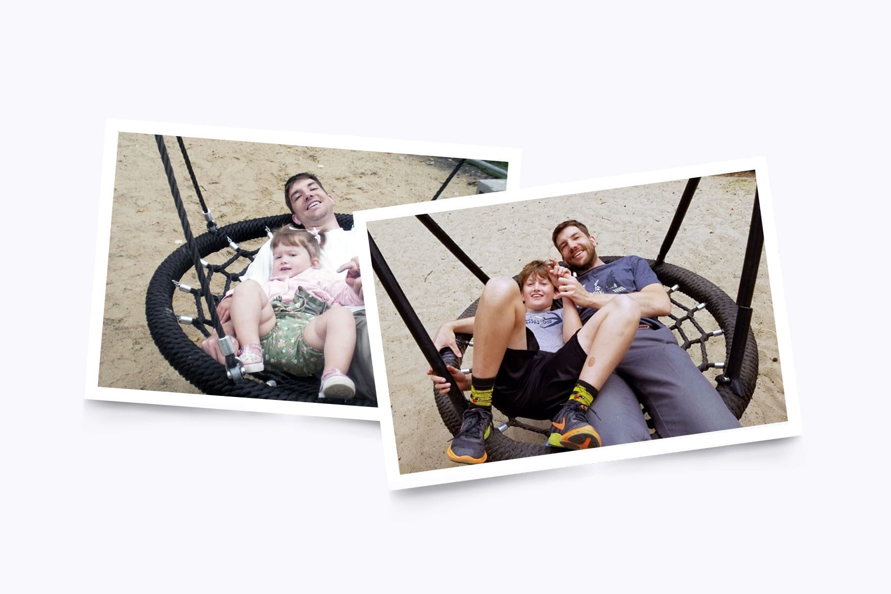 Before and after images of a father and son on a swing