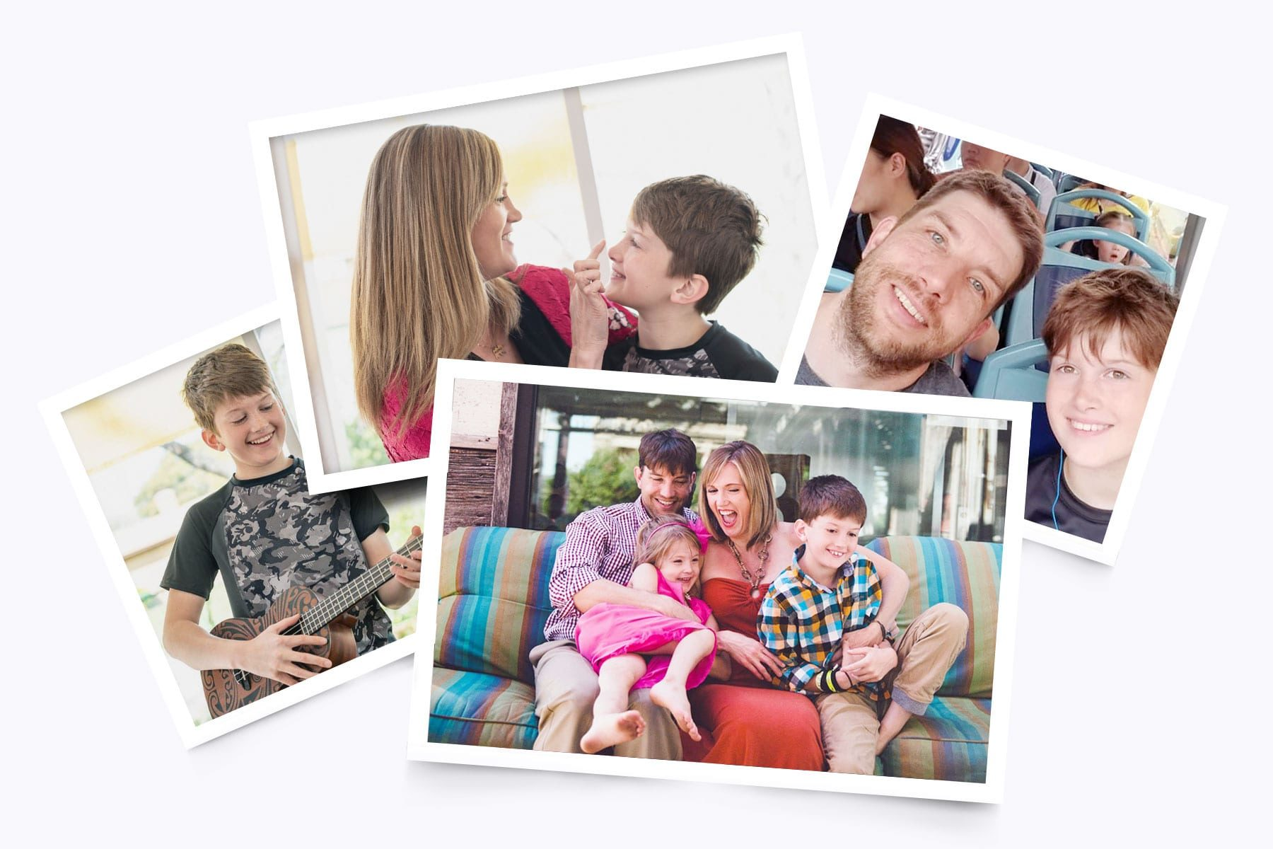 A photo collage of Amber Briggle and her family.