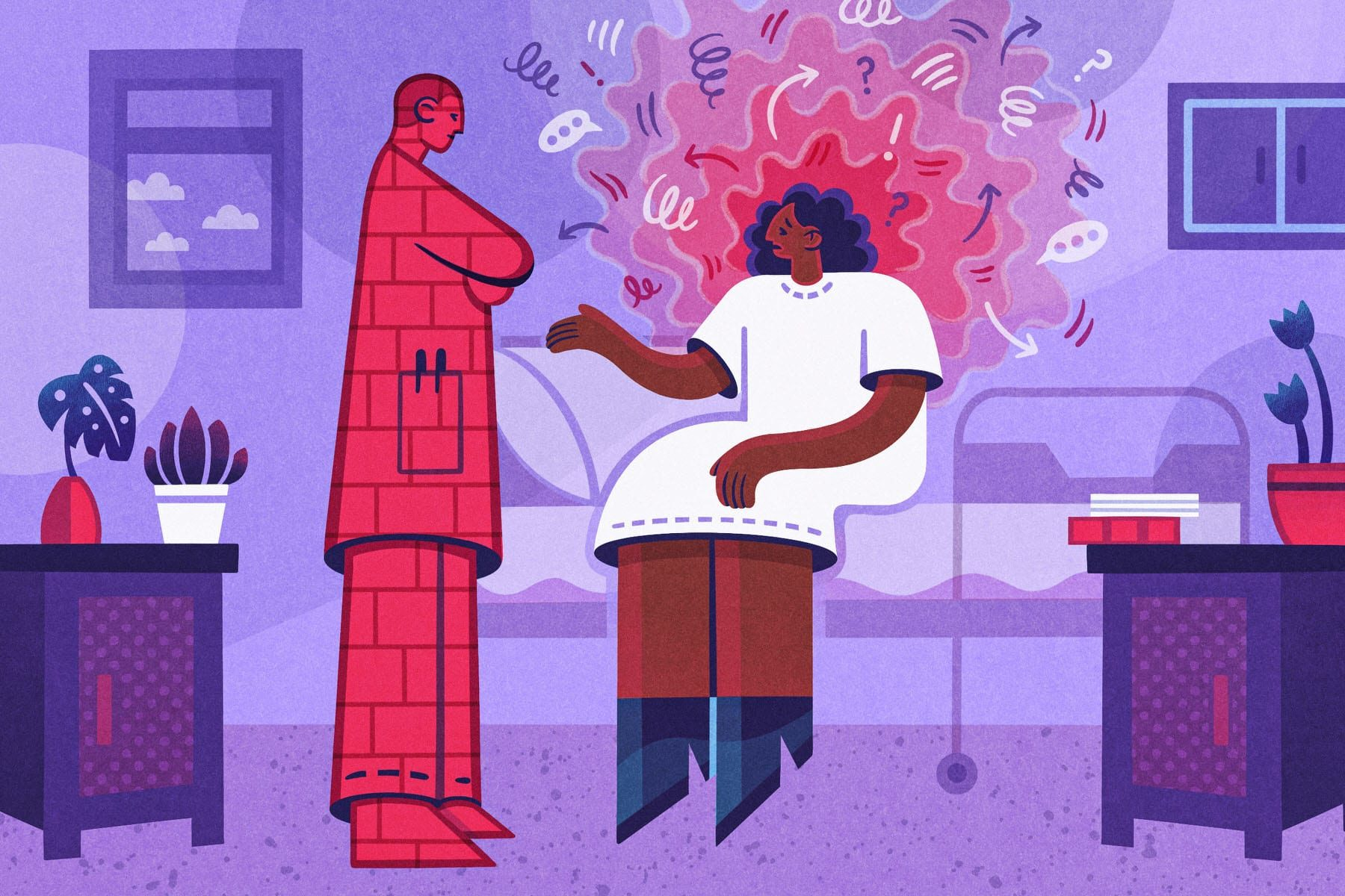 An illustration of a woman being dismissed by her doctor.
