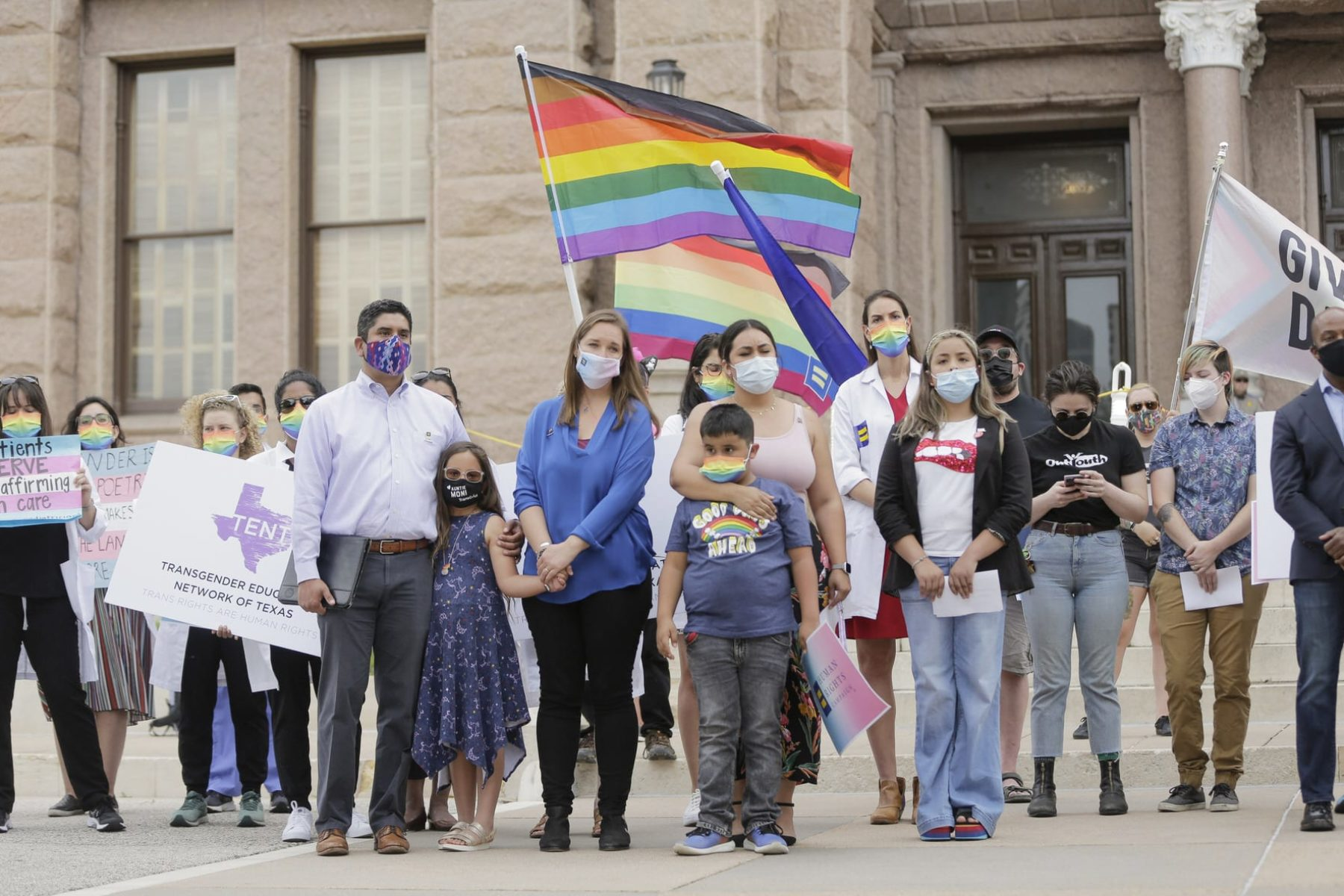 LGBTQ advocates demonstrate in front of the Texas State Capitol.