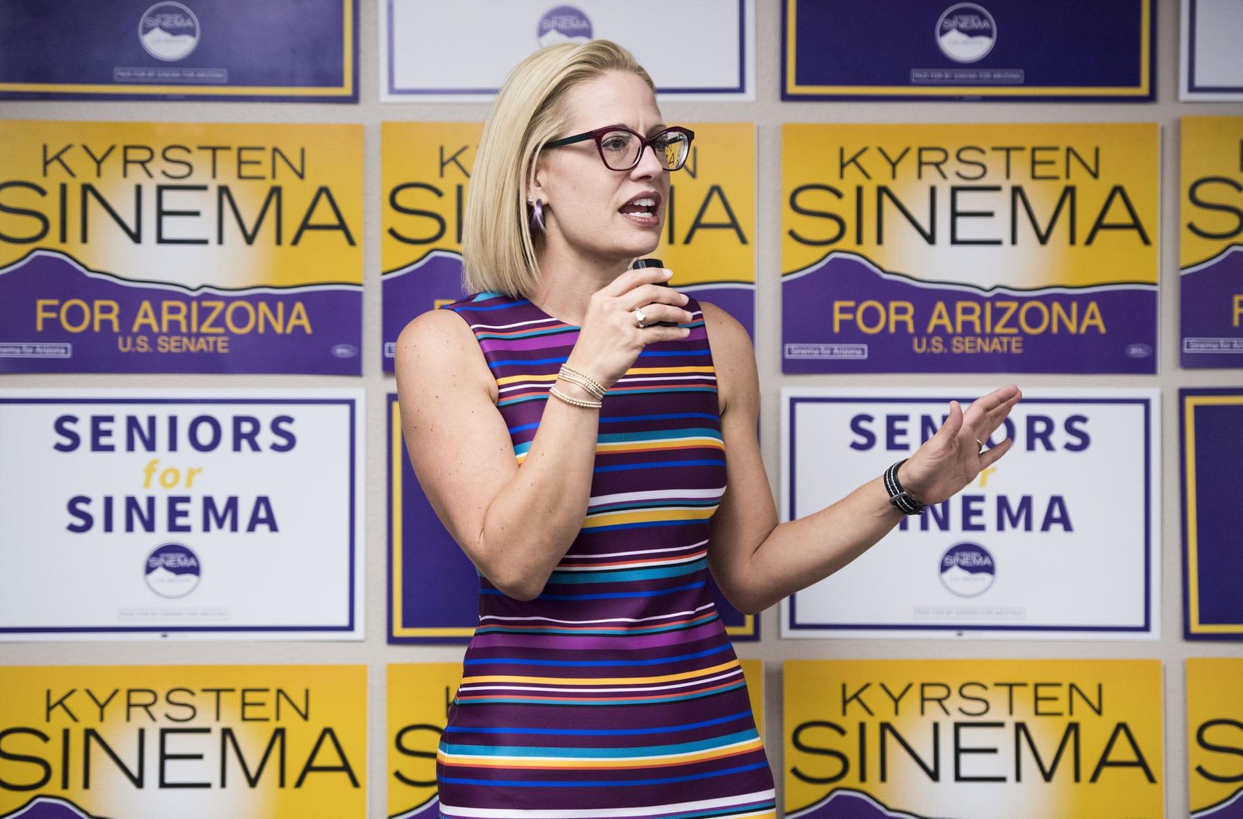 Democratic candidate for U.S. Senate Rep. Kyrsten Sinema, D-Ariz., speaks to supporters.