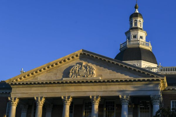 The outside of the Maryland statehouse.