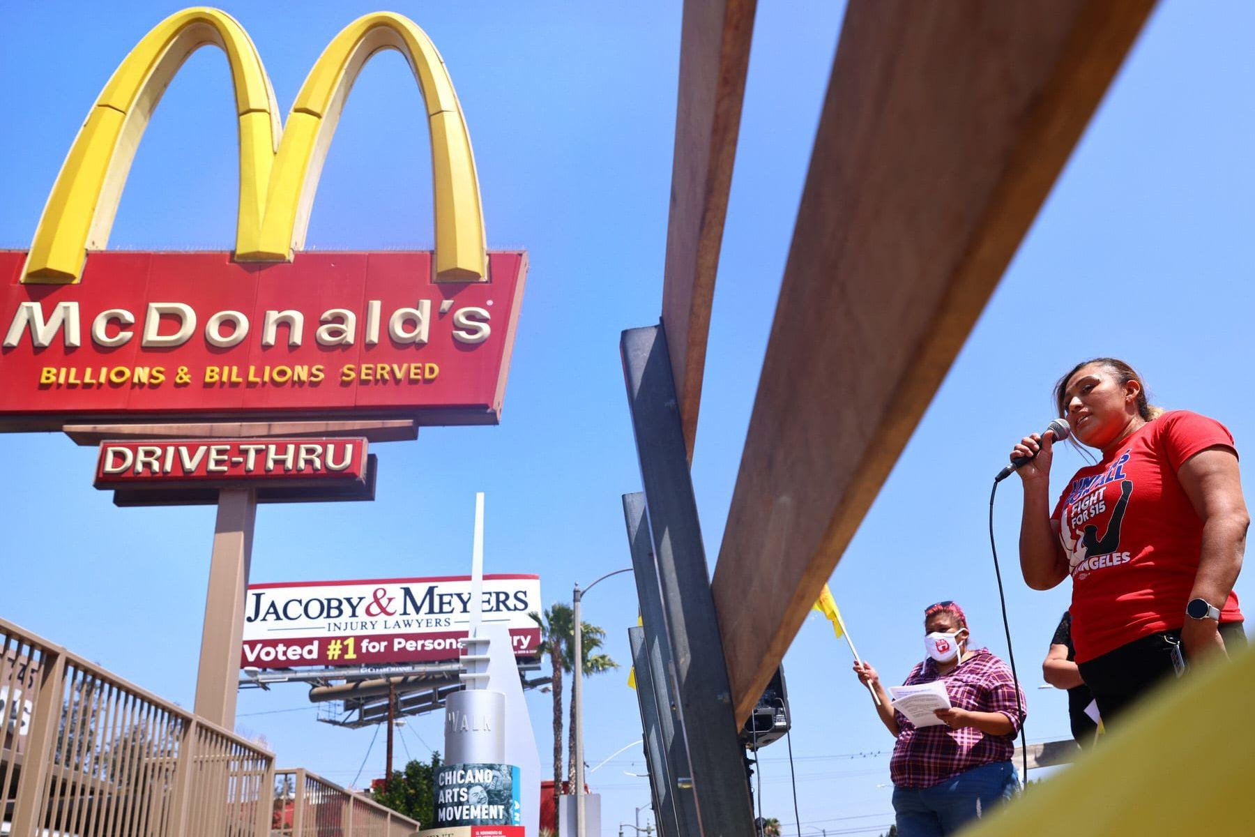 Workers strike outside of a McDonalds in LA.