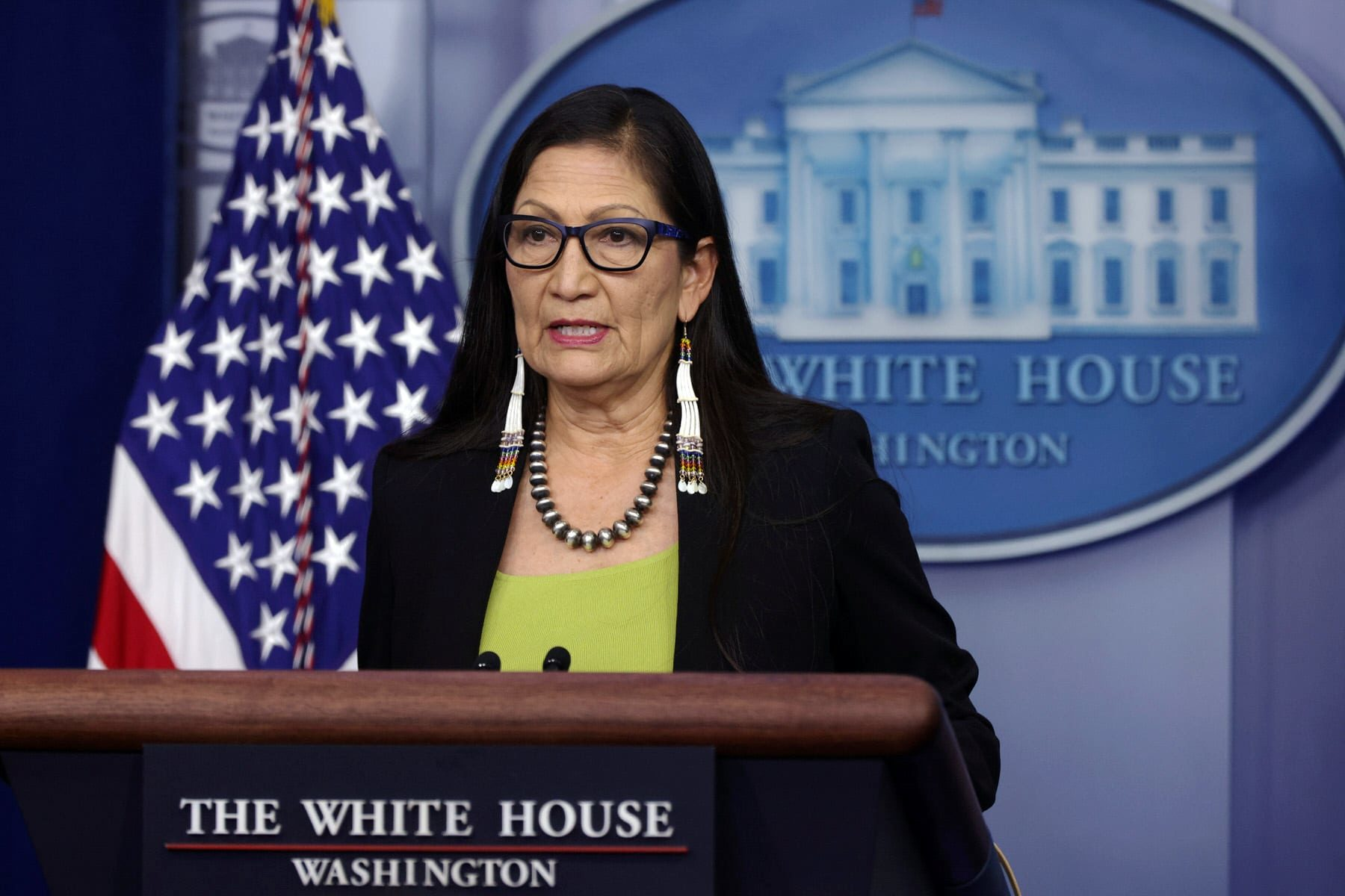 U.S. Secretary of the Interior Deb Haaland speaks during a daily press briefing.