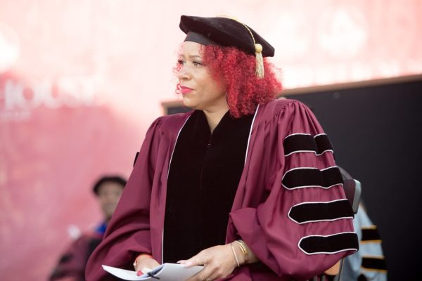 Nikole Hannah-Jones in robes at the Morehouse commencement.