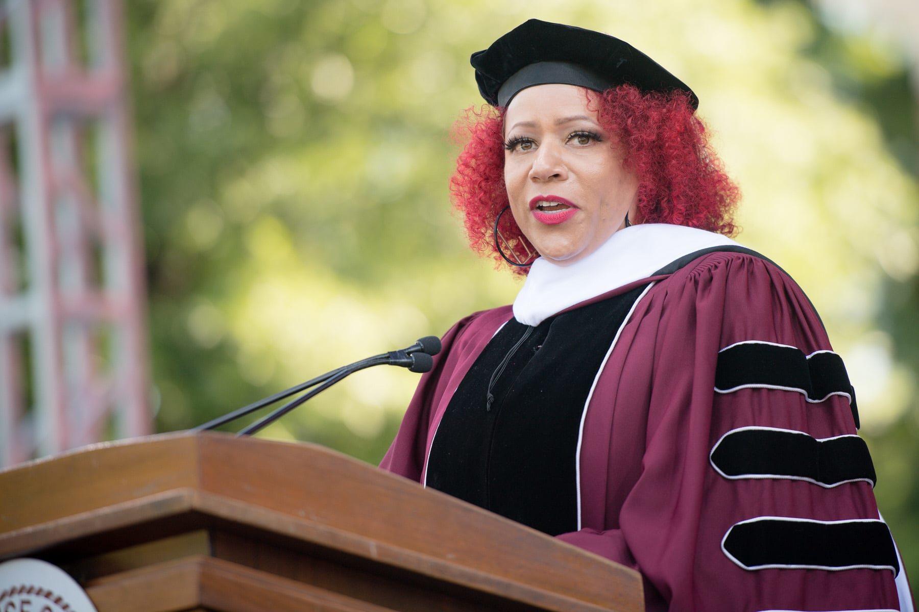 Nikole Hannah-Jones addressed graduates at Morehouse College on May 16, 2021