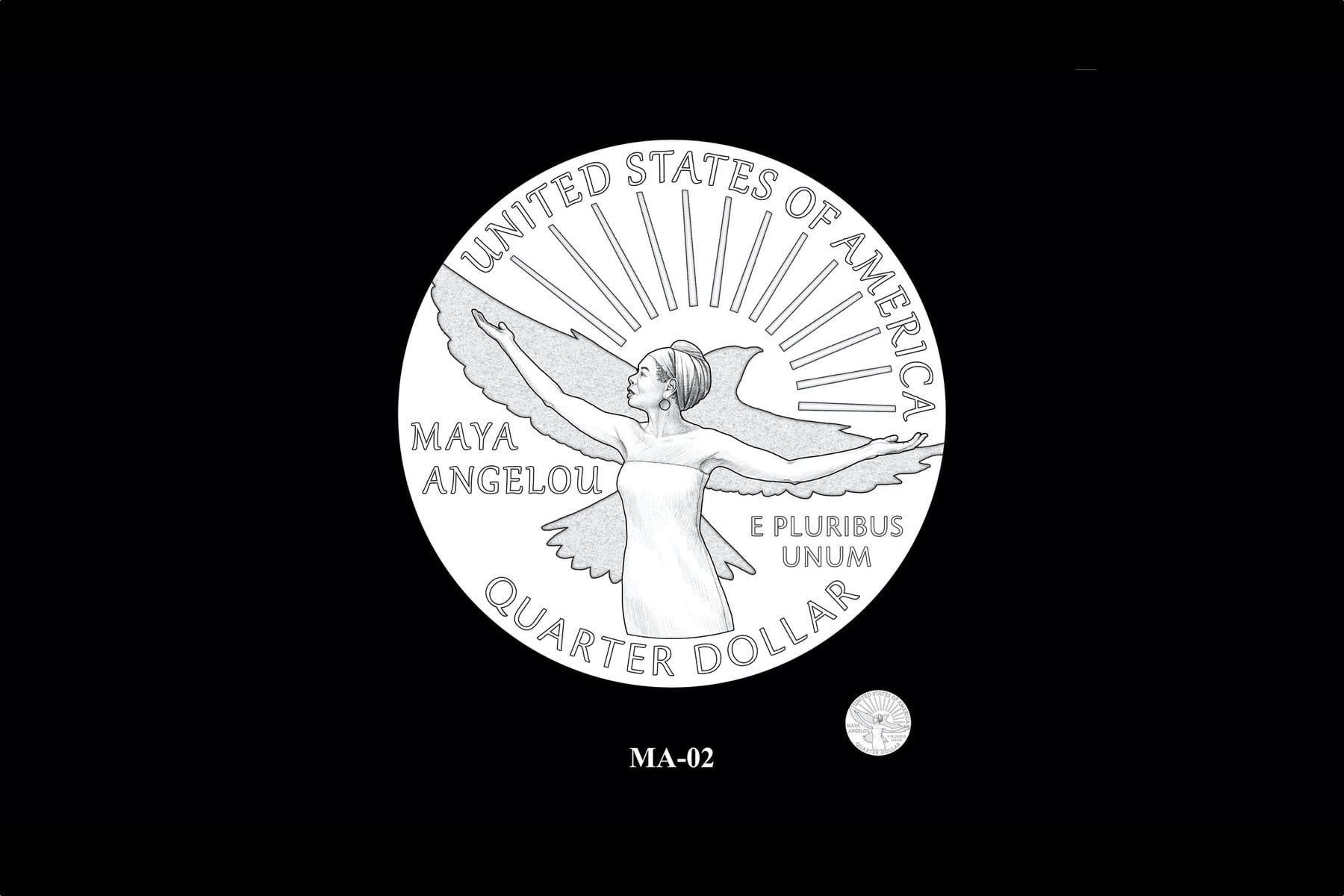 A quarter featuring Maya Angelou