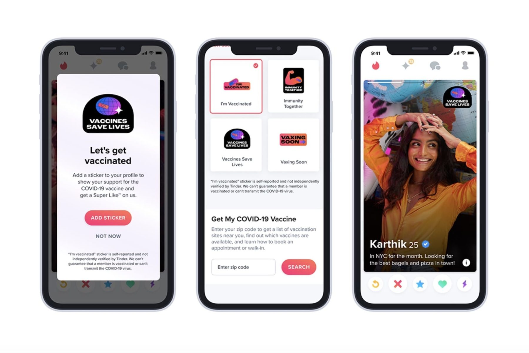 A screenshot of different features of the Tinder app.
