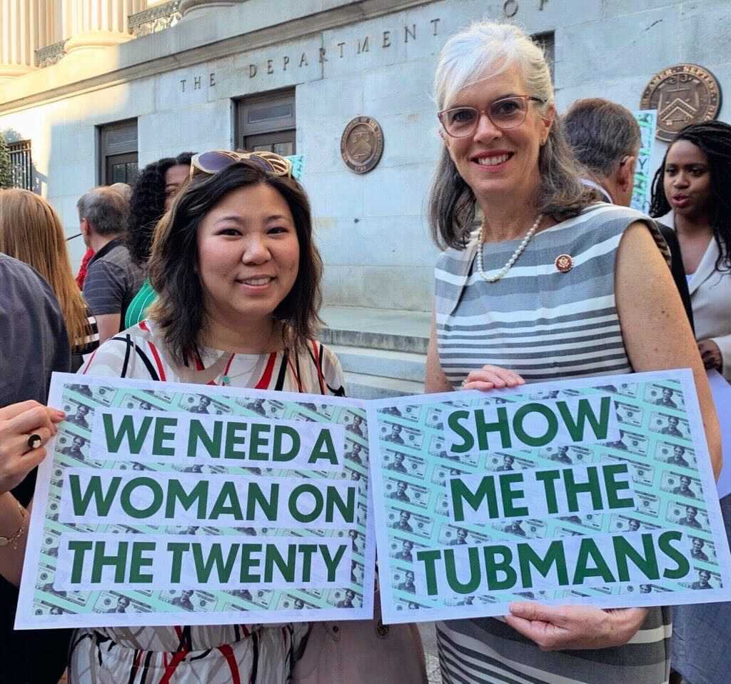 Grace Meng and Katherine Clark promoting the Tubman $20 bill (2019?)