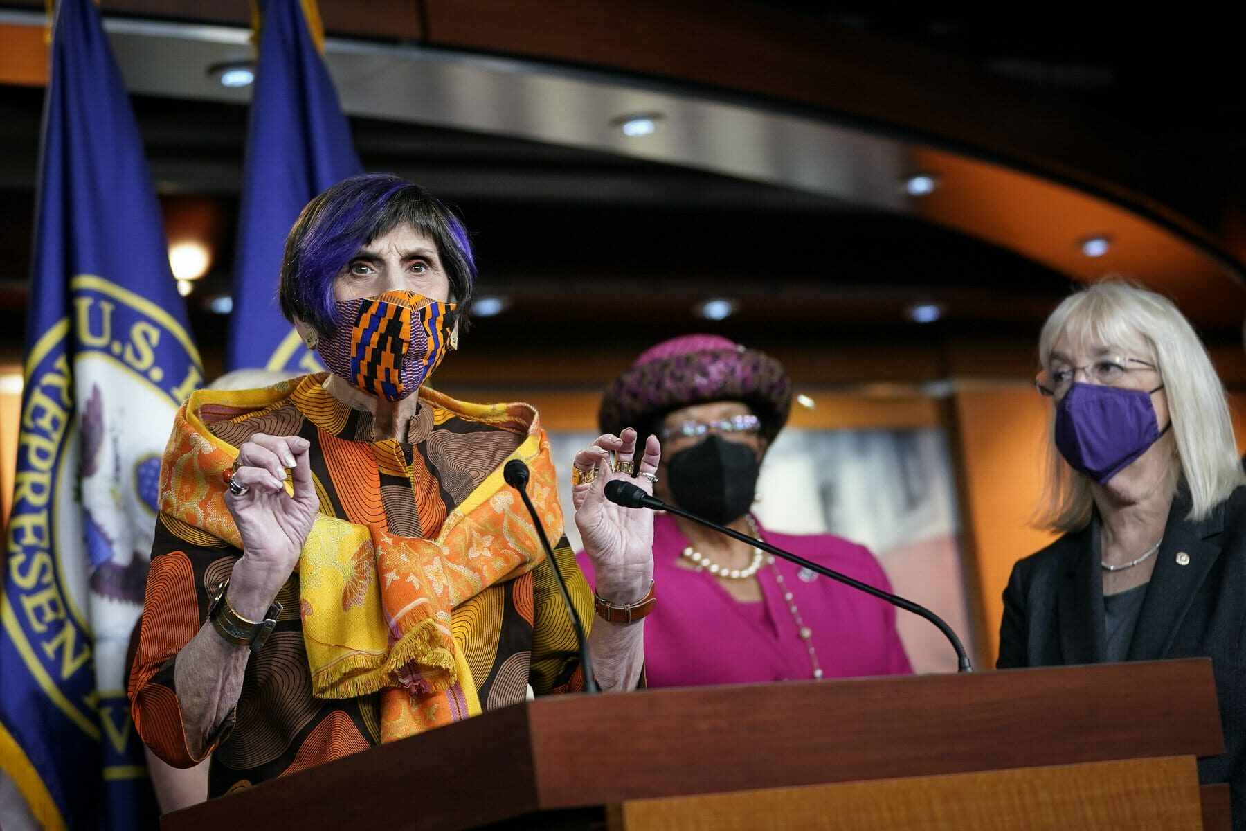 Rep. Rosa DeLauro speaks during a news conference at a podium.