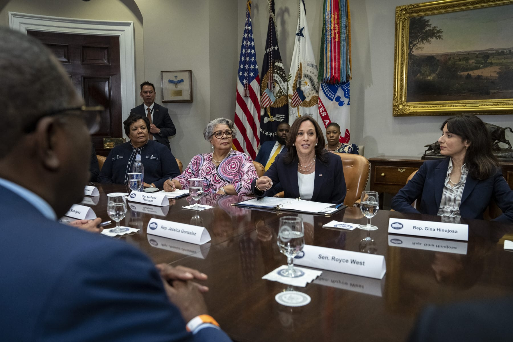 Vice President Kamala Harris speaks while meeting with Democratic members of the Texas Legislature in the Roosevelt Room of the White House.