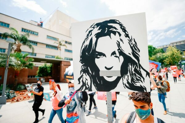 #FreeBritney activists protest outside the courthouse in Los Angeles.