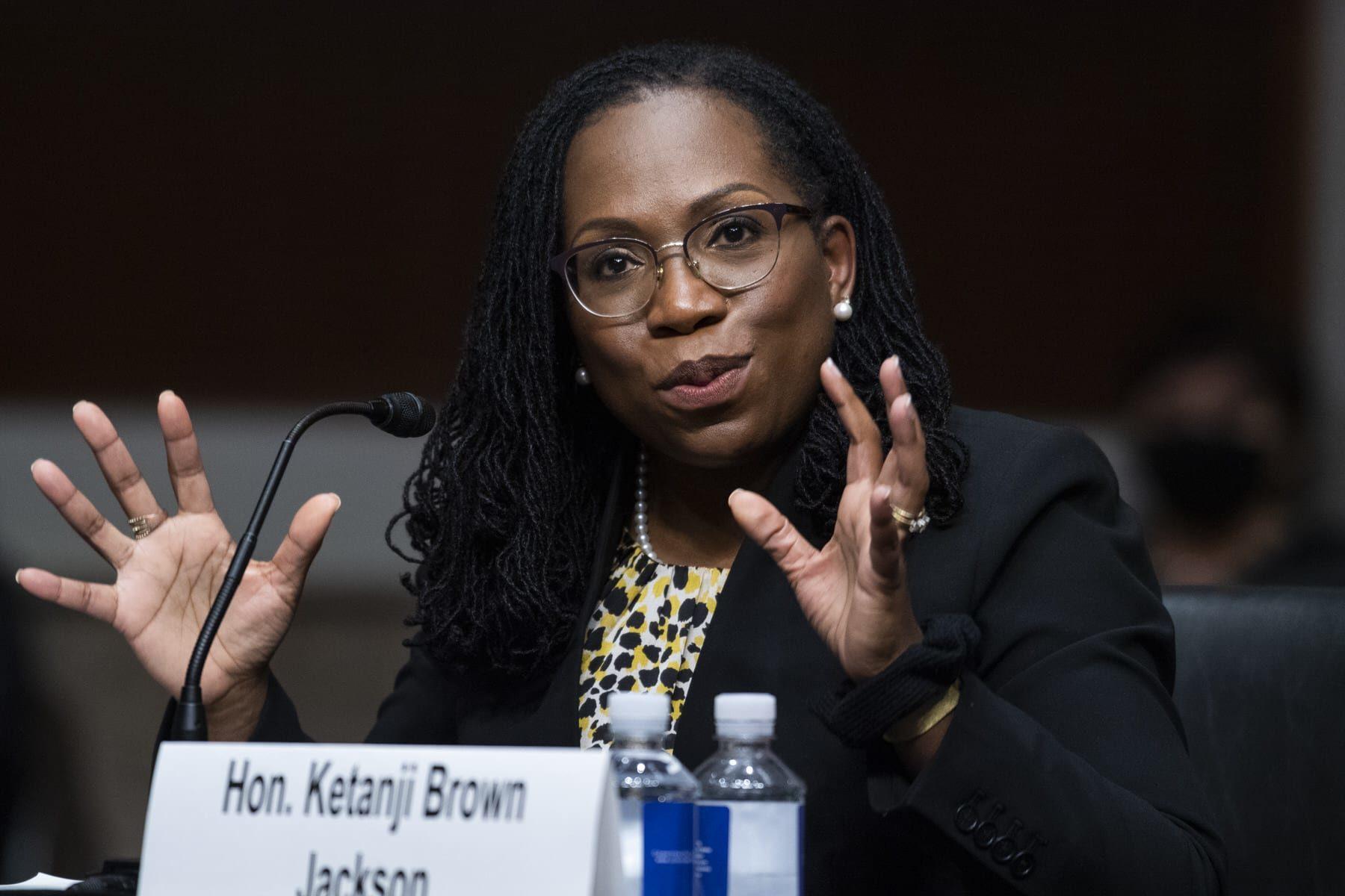 Judge Ketanji Brown Jackson testifying on Capitol Hill