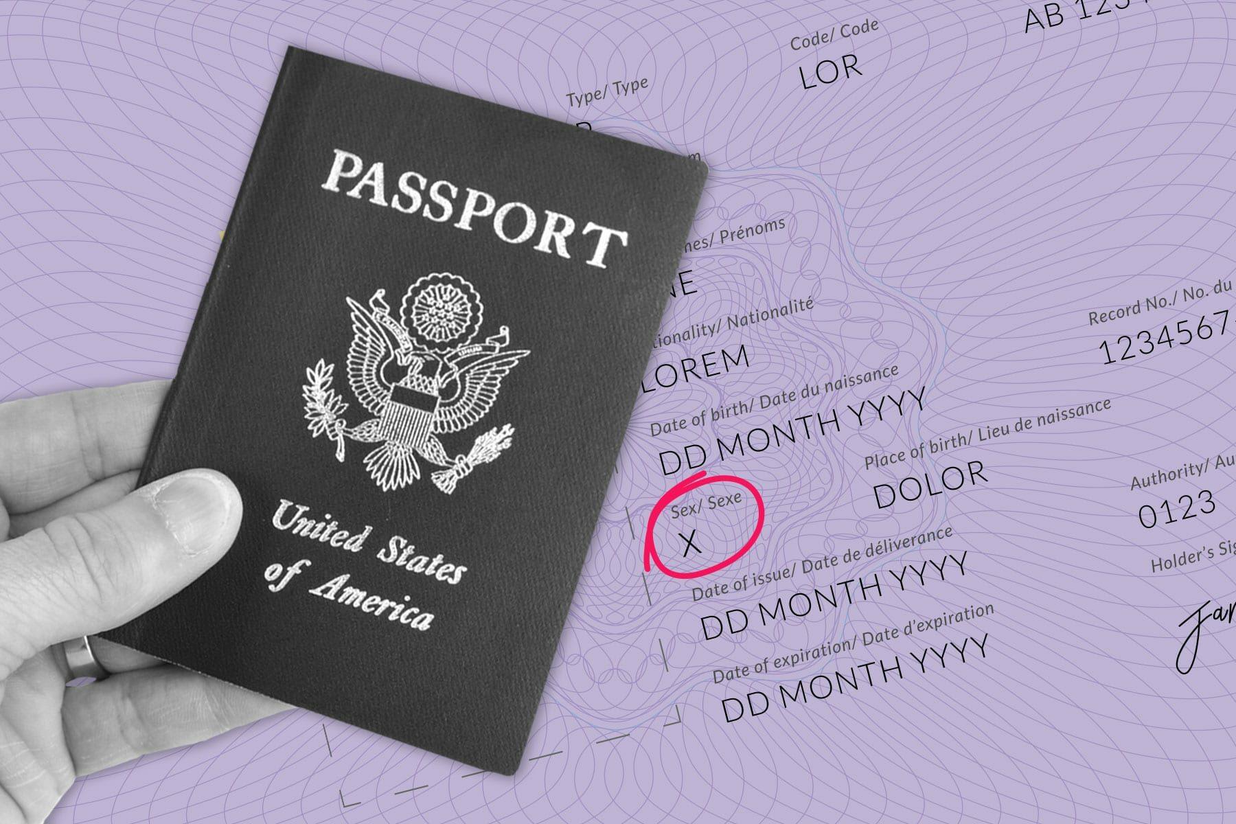 Image of passport and gender marker