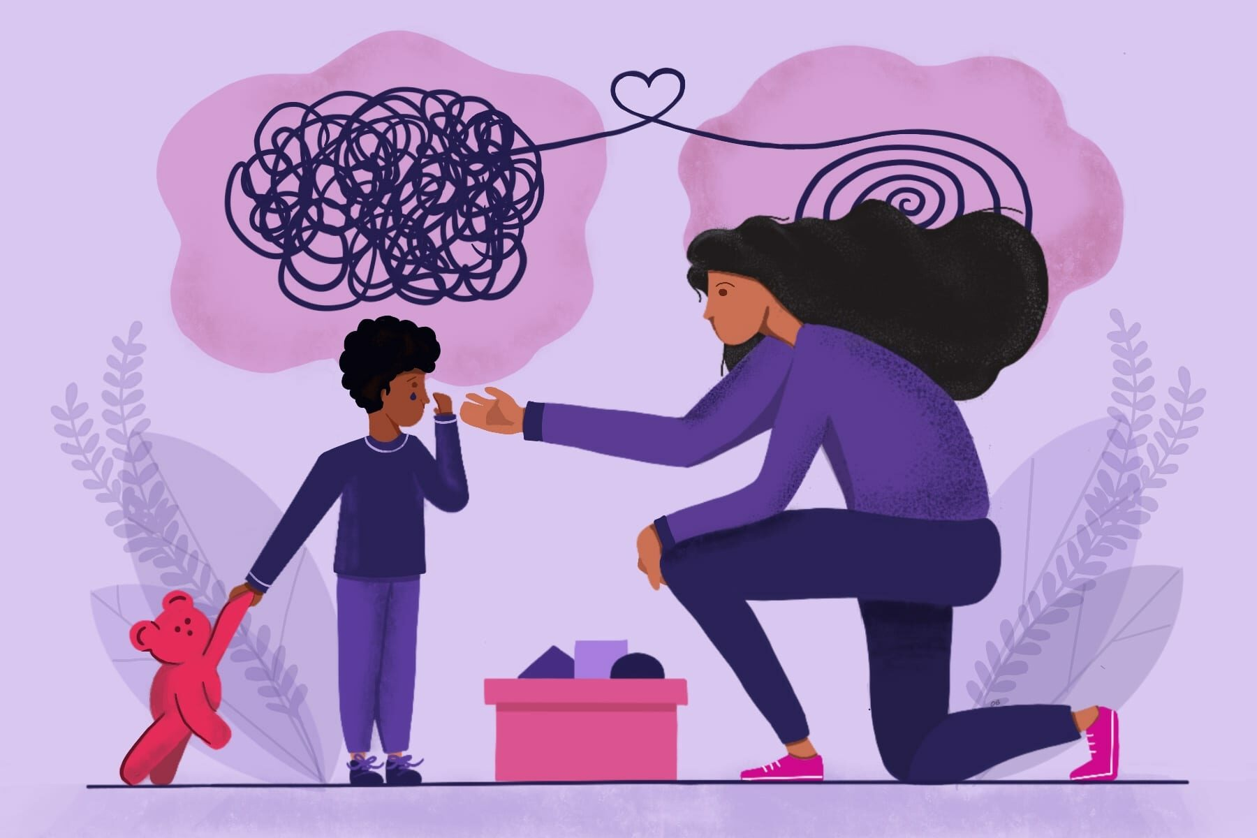 Illustration of a young child and a caretaker.