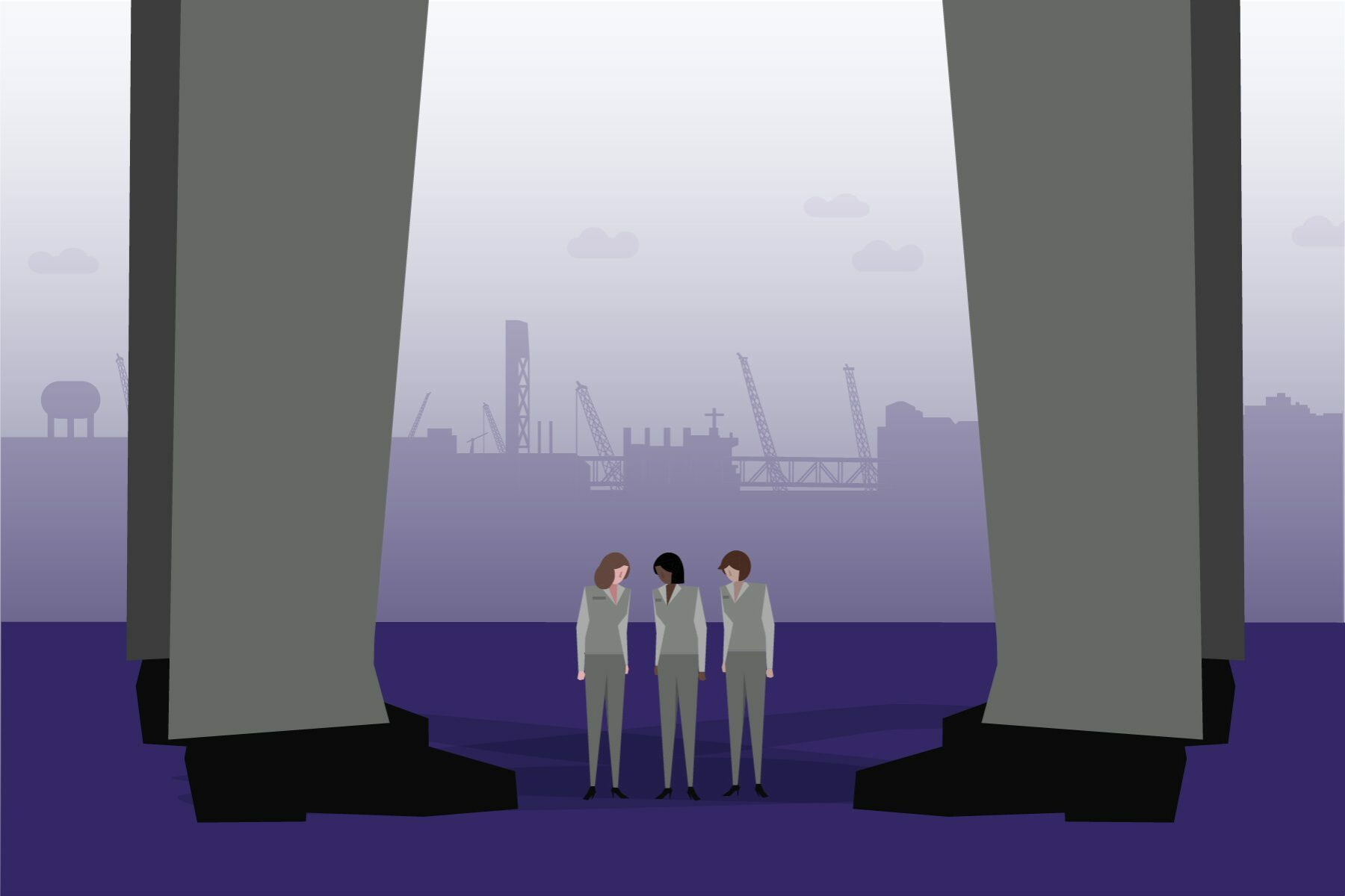 Illustration of women in the shadow of gender discrimination and harassment.