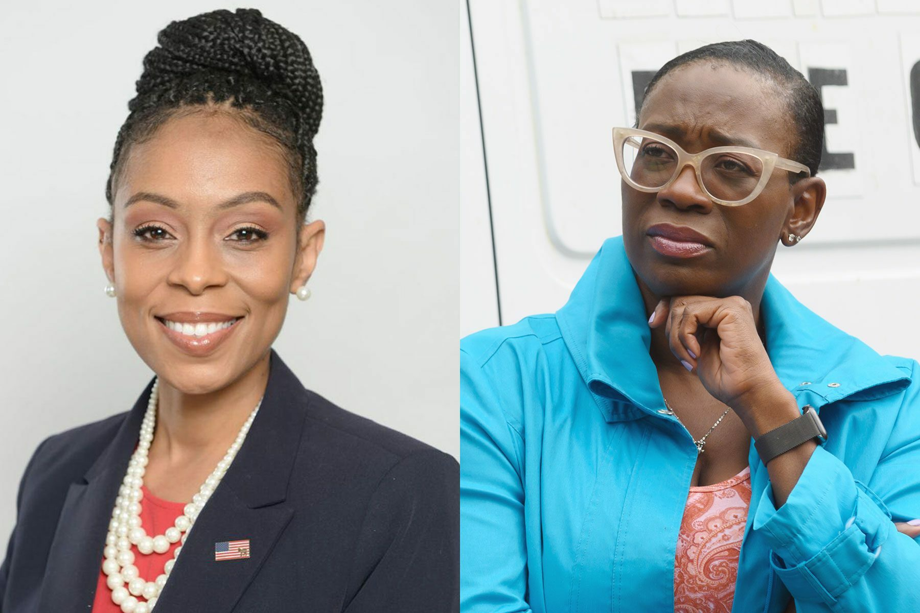 A diptych of Ohio Congressional candidates Shontel Brown and Nina Turner.