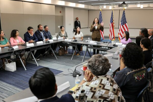 Vice President Kamala Harris speaks while meeting with Texas legislators in Washington, D.C., Tuesday, July 13, 2021.