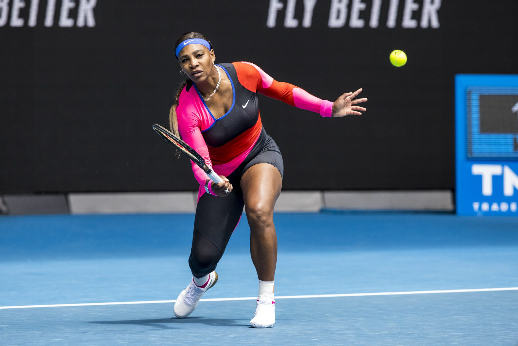 Serena Williams of the United States of America returns the ball during round 1 of the 2021 Australian Open.