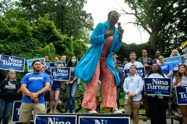 Ohio Congressional Candidate Nina Turner speaks at a campaign rally.