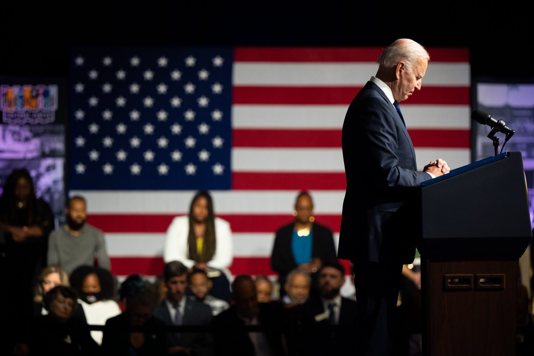 U.S. President Joe Biden takes a moment of silence during commemorations of the 100th anniversary of the Tulsa Race Massacre.
