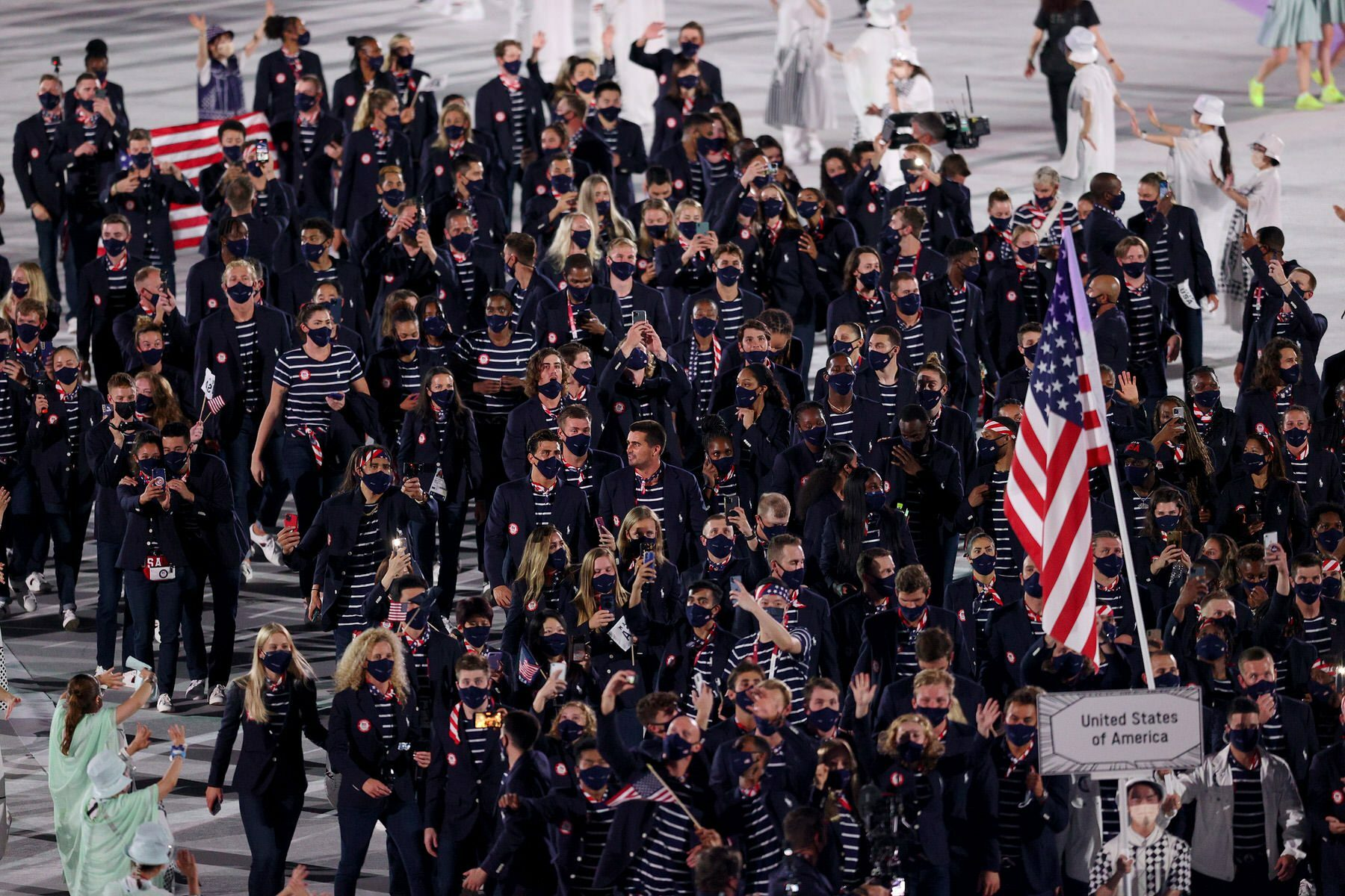 Athletes of team USA enjoy the atmosphere during the Opening Ceremony of the Tokyo 2020 Olympic Games.
