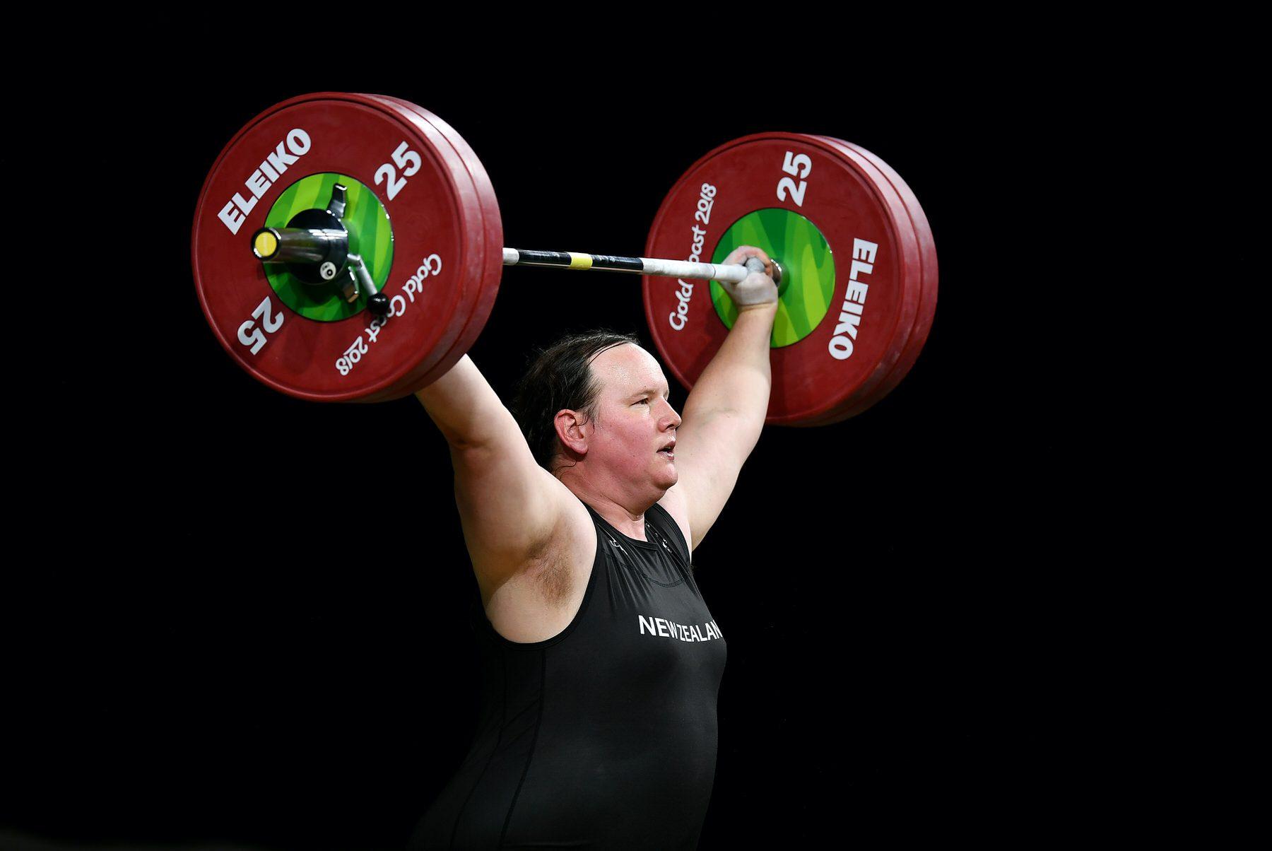 Laurel Hubbard lifting a big weight.