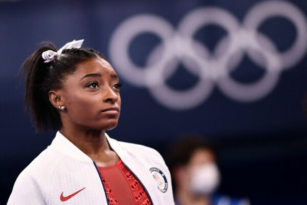 USA's Simone Biles looks on during the artistic gymnastics women's team final during the Tokyo 2020 Olympic Games at the Ariake Gymnastics Centre in Tokyo on July 27, 2021.