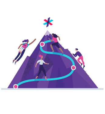 Illustration of people climbing a mountain