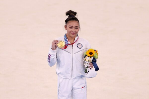 Sunisa Lee of Team United States poses with her gold medal after winning the Women's All-Around Final on day six of the Tokyo 2020 Olympic Games at Ariake Gymnastics Centre on July 29, 2021 in Tokyo, Japan.
