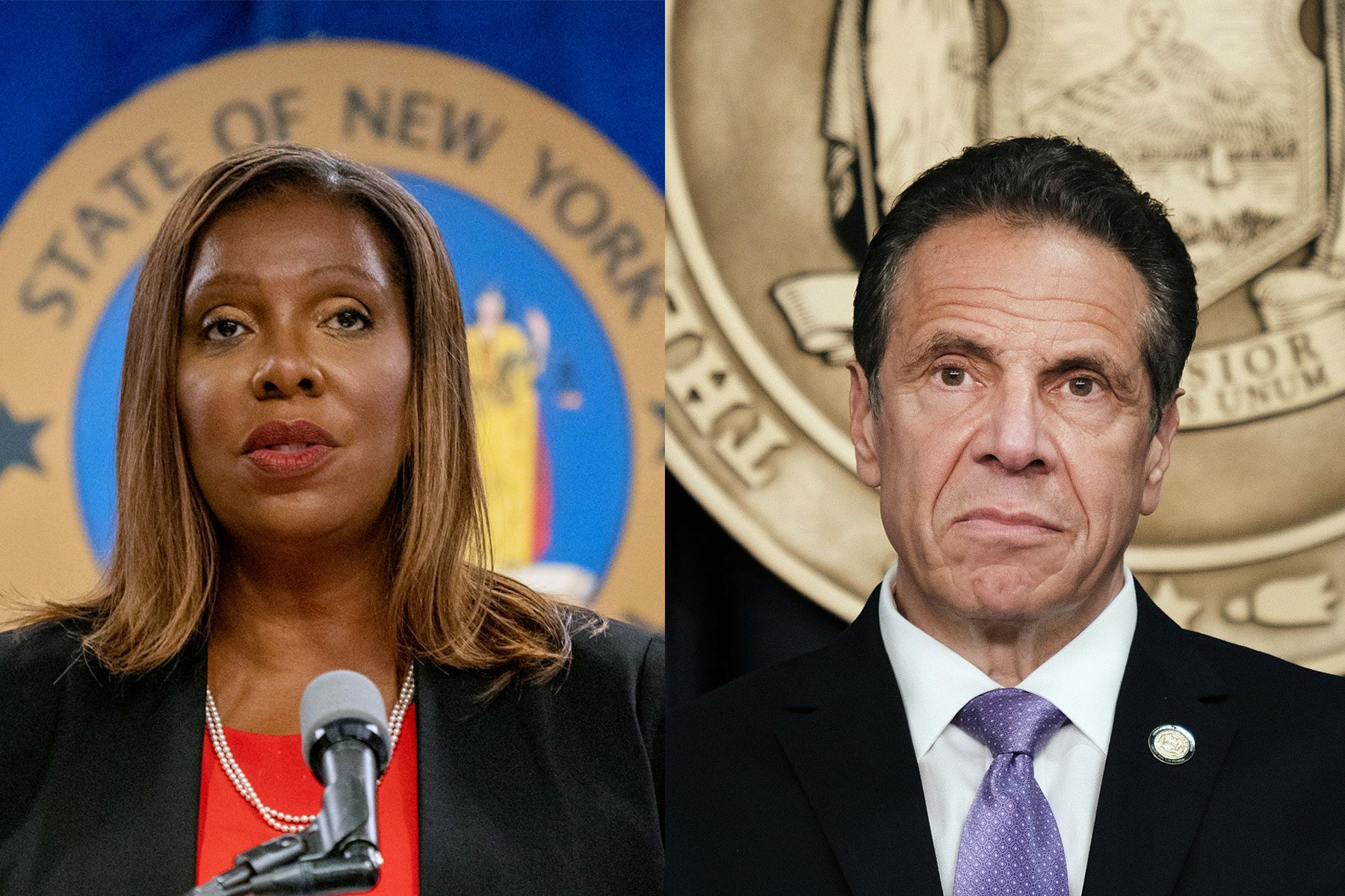 Diptych of New York Attorney General Letitia James and Ne York Governor Andrew Cuomo