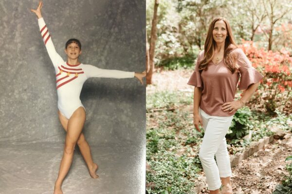 A diptych of Emily Meinke (as a young girl in a gymnastics portrait) next to a recent portrait.