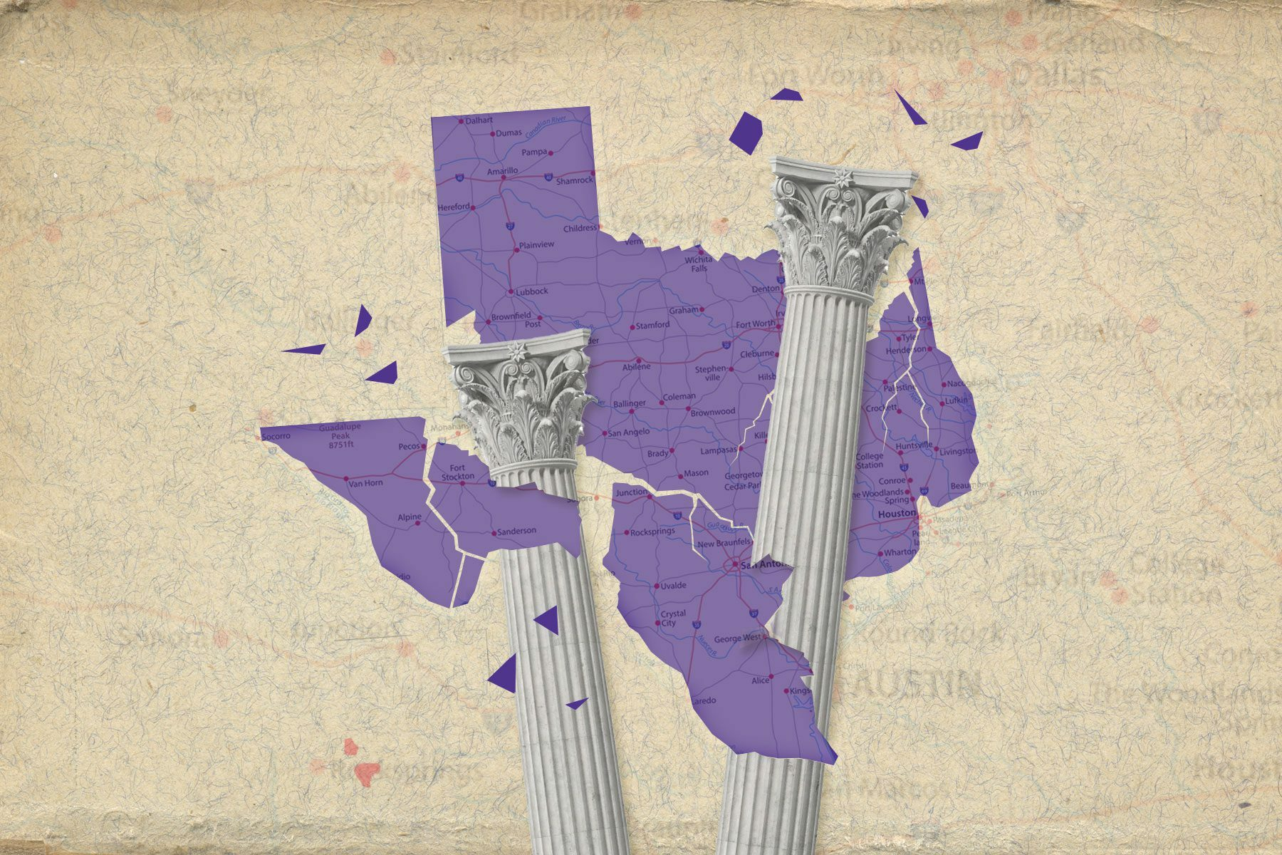 Illustration of stately corinthian columns breaking up the state of Texas.